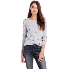 NWT Armani Exchange sweater New with tags! Grey embellished sweater. 100% cotton Armani Exchange Sweaters Crew & Scoop Necks