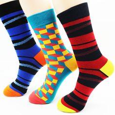 New winter men's colorful cotton stripe socks Brand high quality fashion hip hop skateboard novelty mens dress socks pairs )