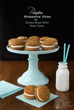Pumpkin Whoopie Pies - you won't even believe how fabulous these are! The cookies are soft, moist and loaded with warm fall spices but the filling is what sends them over the top. It's the most magically delicious buttercream ever!!