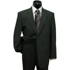 SKU#CLK500 Men's Black Classic Two Button Style Super Wool Suit $139  ... (9,195 INR) via Polyvore featuring mens, men's clothing and men's suits