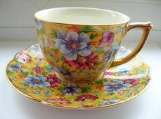 Vintage porcelain cup and saucer set in the Sophie Chintz pattern by James Sadler, England
