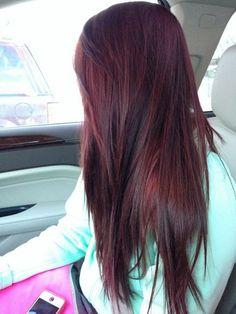 Dark Red Hair Color-dark red and red hair colors - New Hair Hair Colorful, Hair Color And Cut, Hair Highlights, Color Highlights, Caramel Highlights, Chunky Highlights, Peekaboo Highlights, Black Hair Burgundy Highlights, Golden Highlights