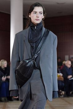 These Are The Accessories Everyone Is Talking About From The Fall 2018 Shows Christophe Lemaire, Fall Accessories, Fall 2018, Leather Jacket, Blazer, Suits, Jackets, Arm, Candy
