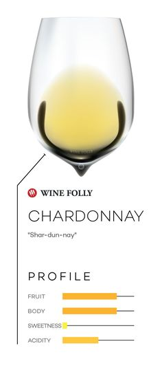 Chardonnay wine in a glass with taste profile and pronunciation