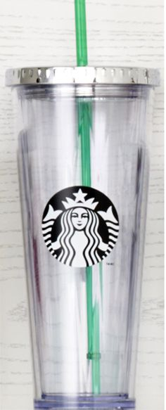 24-fl oz clear plastic Cold Cup with black and white Siren logo and high-shine lid. #Starbucks #DotCollection