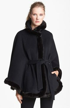faux fur trim belted cape - love this for going out