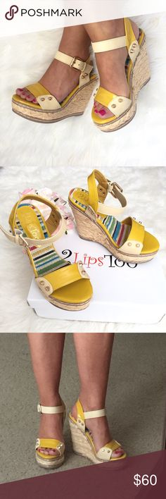 """Brand New! Yellow Stud Wedge heel by 2Lips Too Brand New In Box! Embrace the warm weather with woven raffia and patent shine in the """"Too Raft"""" wedges from 2 Lips Too. This two-tone wedge sandal can be dressed up or down for maximum wear. These wedges are way too cute, love them!!   Patent upper Quarter strap with adjustable buckle 1¼"""" platform, 4½"""" braided raffia wedge Synthetic sole 2 Lips Too Shoes Wedges"""
