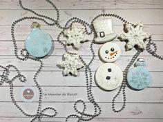 Snowman, Snow Flakes, ornaments, white & silver, by Le Monnier du Biscuit