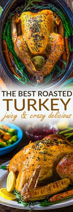 The BEST Garlic Herb Roasted Turkey with step-by-step photos and instructions to roast the perfect juicy moist tender and golden turkey bursting with flavor. No more dried out or bland turkey this is the recipe to keep for years to come Thanksgiving C Roast Turkey Recipes, Thanksgiving Turkey Recipes, Best Turkey Recipe, Thanksgiving Cakes, Turkey Recipes With Herbs, Recipe For Moist Turkey, How To Bake Turkey, High Heat Turkey Recipe, Baking A Turkey