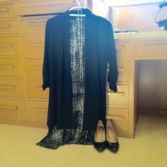 2016-01-28. Chamber Banquet. Black, grey, and white print dress from Stitch Fix. Black knit long jacket. Black patent pumps.