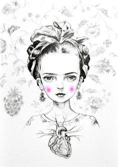 Hey, I found this really awesome Etsy listing at https://www.etsy.com/listing/215990261/frida-kahlo-mini-print