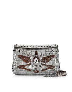 6b25d4b62d Roberto Cavalli Regina Silver Embossed Croco Leather Shoulder Bag W Crystals