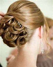 Pin curls lower half, formal updo