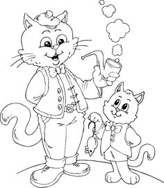 cat dad and son coloring page