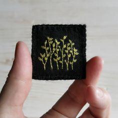 Botanical Textile Art Brooch - Hand Embroidered Botanical Design on Black Linen…