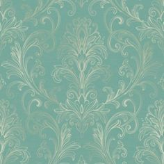 for the hutch - Linear Damask Wallpaper Turquoise/Pearl Double Rol