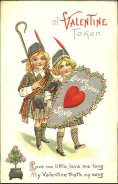 Valentine HOOT LASSIE circa 1920s Antique Greeting Card Scottish Write Me Love