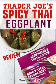 Trader Joe's Spicy Thai Eggplant with Basil. The Thai basil flavor comes right through and is a pleasant compliment to the flavors here. And if you are careful enough, the chilis do add flavor as well as a strong kick. Mine contained multiple red little peppers of pure heat. | Become Betty @becomebetty #traderjoes #traderjoesfrozen #traderjoesthai #traderjoesspicyeggplant #traderjoesasian #traderjoesdiditagain #traderjoesfan #traderjoesfinds #traderjoesreview #becomebetty Asian Noodle Recipes, Healthy Asian Recipes, Asian Chicken Recipes, Vegetarian Recipes Easy, Vegetarian Shopping List, Trader Joes Vegetarian, Shopping Lists, Easy Freezer Meals, Easy Family Dinners