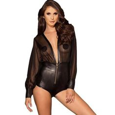 Bodysuits. Body Suit With ShortsDeepRompers WomenWomens BodysuitOveralls Bodysuit ShortsPlus SizeLeatherBodysuits. Zipper deep v neck sexy bodysuit  PU ... e52c48fa3