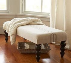 DIY POTTERY BARN CUSHIONED SITTING BENCH.  I ALWAYS WANTED ONE AT THE END OF MY BED!