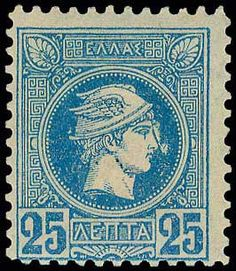 Auction House specialized in stamps, coins, banknotes, rare maps and books of Greece and many other foreign countries. Athens, Vintage World Maps, Flaws, Auction, Stamp, Blue, Stamps