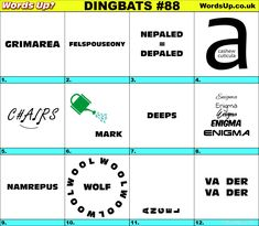 Dingbats & Whatzits Rebus online and printable Puzzles Rebus Puzzles, Printable Puzzles, Logic Puzzles, Word Puzzles, Word Up, Word Play, Thing 1, Brain Games, Word Games