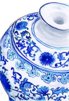 I am obsessed with painting blue and white china at the moment...