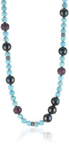"Jordan Alexander 42"" Turquoise with Pave Garnet and Diamond Bead Necklace Jordan Alexander http://www.amazon.com/dp/B0055QKGGW/ref=cm_sw_r_pi_dp_953Ntb10YS1YV030"