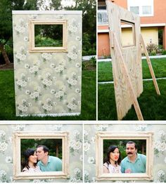 DIY photo booth. Cool. Will do this for Halloween. Change up the wall paper and props.
