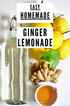 A refreshing, healthy fresh ginger lemonade made with under five ingredients, naturally sweetened and perfect served with ice on a warm day! Healthy Lemonade, Ginger Lemonade, Ginger Juice, Homemade Lemonade, Fresh Ginger, Healthy Drinks, Ginger Water, Fresh Mint, Egg Recipes