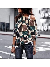 193785b0c61a3 Fashion Daily Casual Loose Plaid Off Shoulder Long Sleeve Top - Onlyyo.com Plus  Size