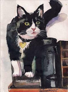 Print of original watercolor painting tuxedo cat black and white kitty kitten