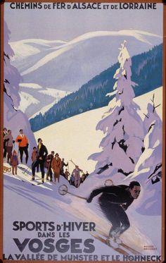 Vintage Vosges Winter Sport French France Skiing Travel Poster Re-Print Ski Vintage, Vintage Ski Posters, Retro Poster, Vintage Art, French Posters, French Vintage, Vintage Winter, Antique Art, Unique Vintage