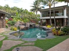 #HouseHunters Faves:  This lush Honolulu backyard has it all — a pool, hot tub, waterfall and full outdoor kitchen — making it the perfect spot to relax after a long day at the beach.