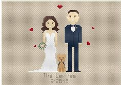 These make wonderful gifts for valentines day, weddings, christmas, birthdays, etc! * This portrait listing is for a custom cross stitched PATTERN * Price varies on number of characters. *** If you want completed cross stitch portrait, please contact me!*** Upon ordering: - Select the