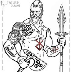 Viking Apparel that is inspired by Vikings and with Viking design, Now there's nothing stopping you from looking like a modern day Viking! Berserker Tattoo, Fenrir Tattoo, Norse Tattoo, Celtic Tattoos, Viking Tattoos, Arte Viking, Viking Art, Dragon Tattoo Designs, Tattoo Designs Men