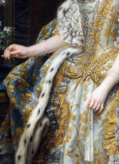 """Charles André van Loo """"Marie Leszczinska, Queen of France"""" (detail) 1747"""