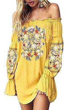 8aba42e092 Yellow Off Shoulder Embroidery Ruffle Dress