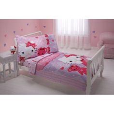 Sanrio 4 Piece Toddler Bedding Set, Hello Kitty and Friends