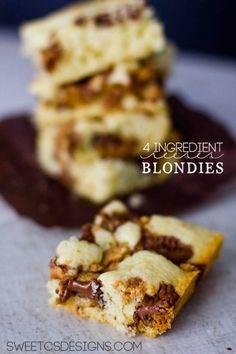 4 Ingredient Reeses Blondies - Sweet C's Designs