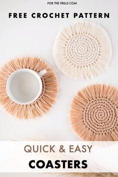 Diy Crafts For Home Decor, Diy Crafts Hacks, Diy Crafts Videos, Rope Crafts, Yarn Crafts, Crochet Home, Diy Crochet, Bead Crochet, Crochet Gifts
