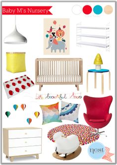 The white backdrop and design elements add an airy feel to this nursery that still has plenty of color and fun!