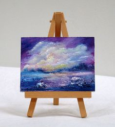Ocean Storm, 3x4, original, oil painting, impressionism, clouds by valdasfineart on Etsy