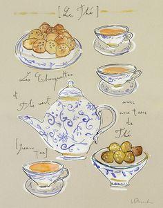 art journal, sketchbook - tea party - le thé