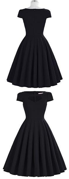 50s Retro Black Dresses Short Sleeve Cocktail Dress Size M BP0189-1