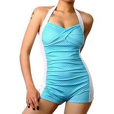 Retro Dotted Halter BoyShort One Piece