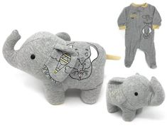 Save your favorite baby clothes, sleeper, coming home outfit or hospital blanket by having them made into a custom keepsake memory elephant stuffed animal! This baby memory elephant can be made from something as small as a newborn sized footed slee Baby First Outfit, Elephant Stuffed Animal, Stuffed Animals, Curious Cat, Owl Patterns, Baby Memories, Baby Keepsake, Tiny Treasures, Baby Kind