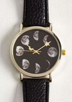 okwowcool:  moon phase watch  nu goth pastel goth goth witchy gothic lolita fachin watch bracelet jewelry accessories moon space modcloth