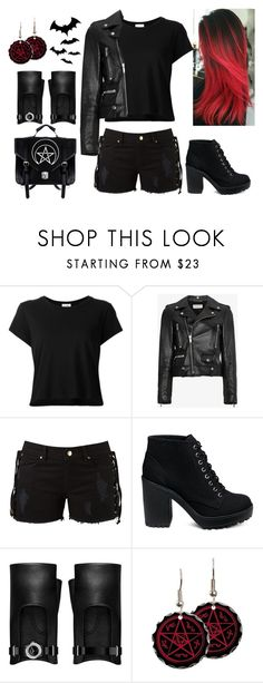 """Black Is My Happy Color"" by fashionbeast182 ❤ liked on Polyvore featuring RE/DONE, Yves Saint Laurent, Amapô and Chanel"