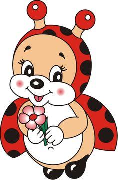Ladybug Girl Holding Flower